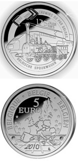 5 euro coin 175 years of Belgian railways  | Belgium 2010
