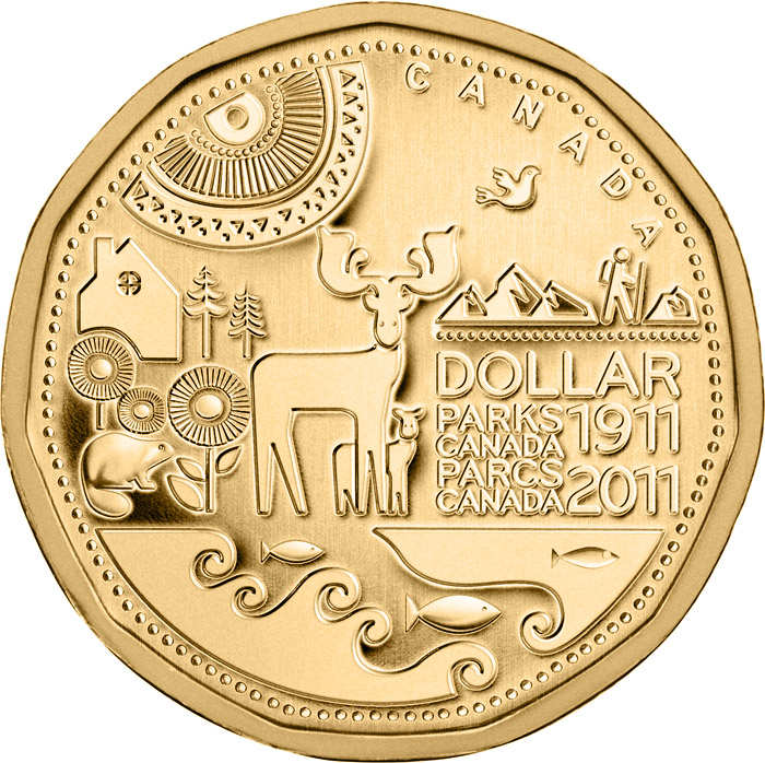 Image of 1 dollar coin Parks Canada Centennial  | Canada 2011.  The Nickel, bronze plating coin is of UNC quality.