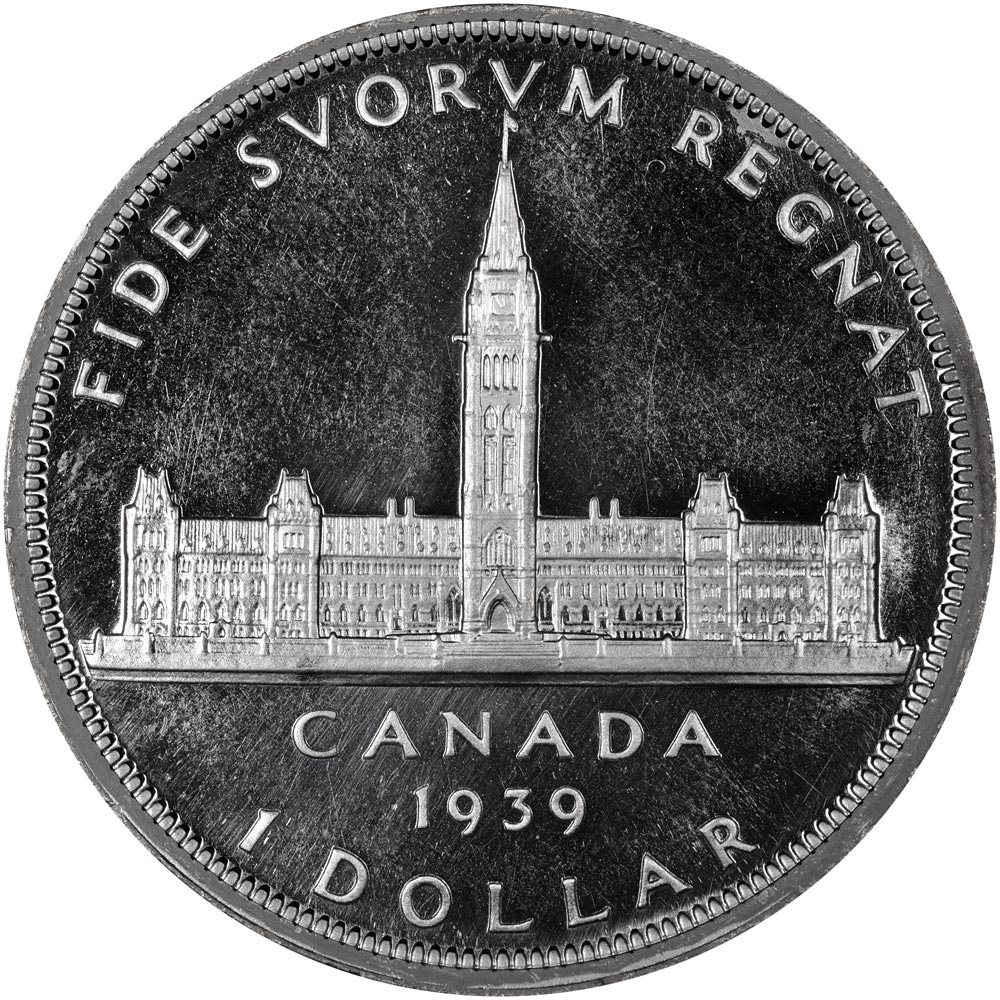 Image of 1 dollar coin – The Royal Visit | Canada 1939.  The Gold coin is of UNC quality.