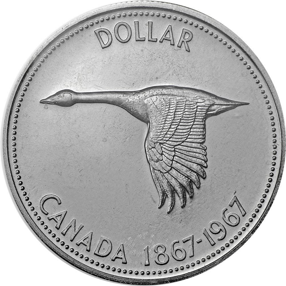 Image of The centennial dollar – 1 dollar coin Canada 1967.  The Gold coin is of UNC quality.