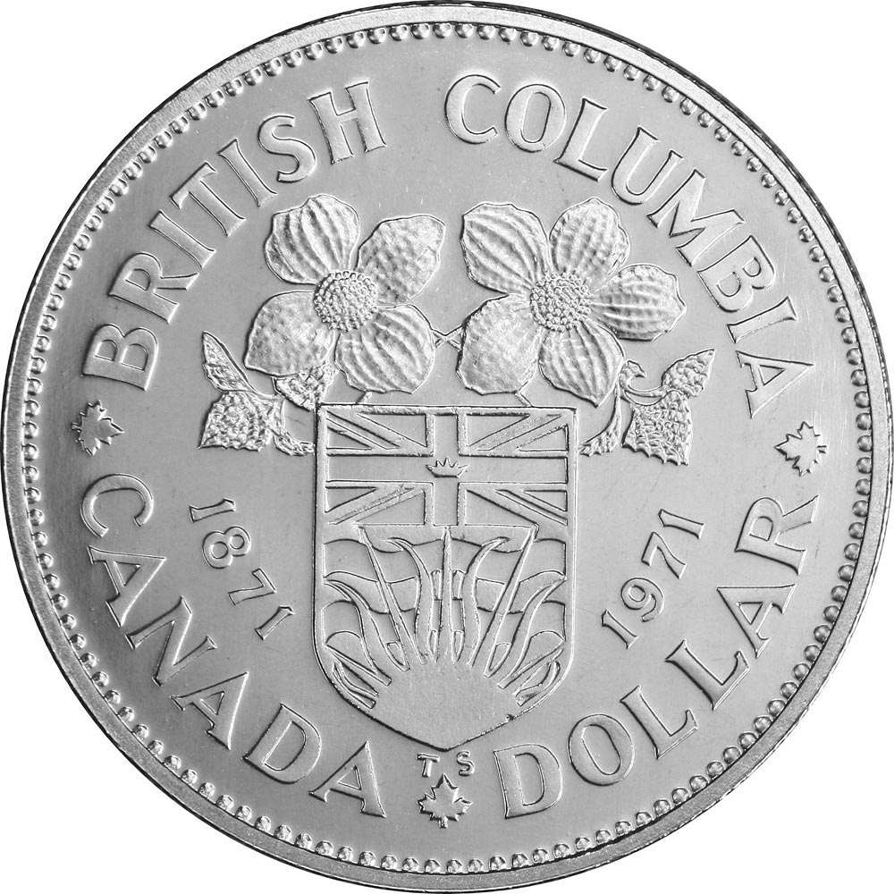Image of 1 dollar coin - British Columbia's centennial | Canada 1971.  The Nickel coin is of UNC quality.