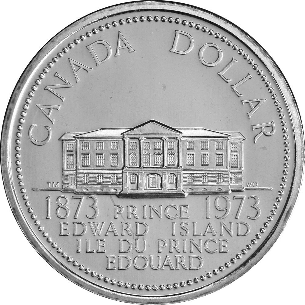 Image of Prince Edward Island's centennial – 1 dollar coin Canada 1973.  The Nickel coin is of UNC quality.