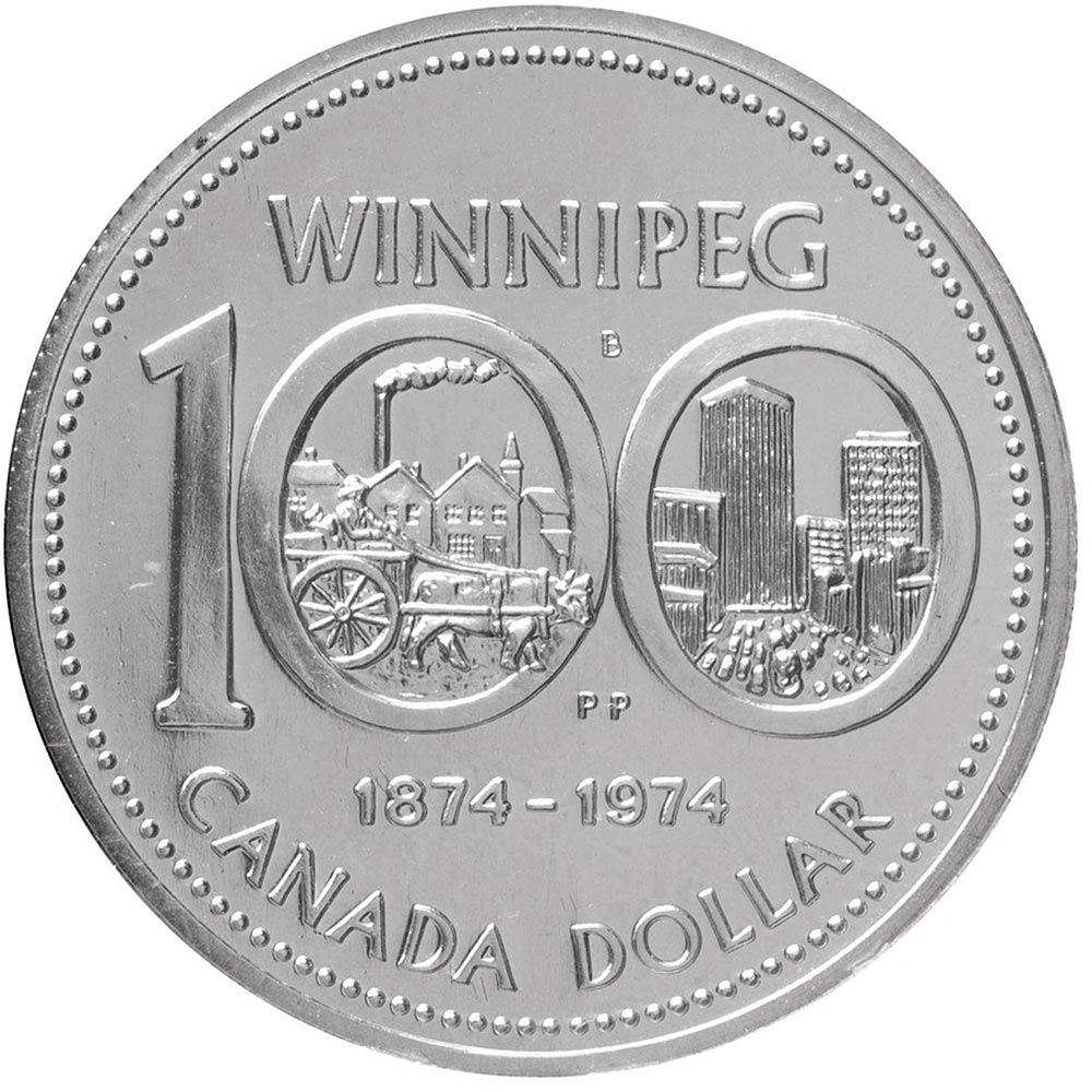 Image of 1 dollar coin - Winnipeg's centennial | Canada 1974.  The Nickel coin is of UNC quality.