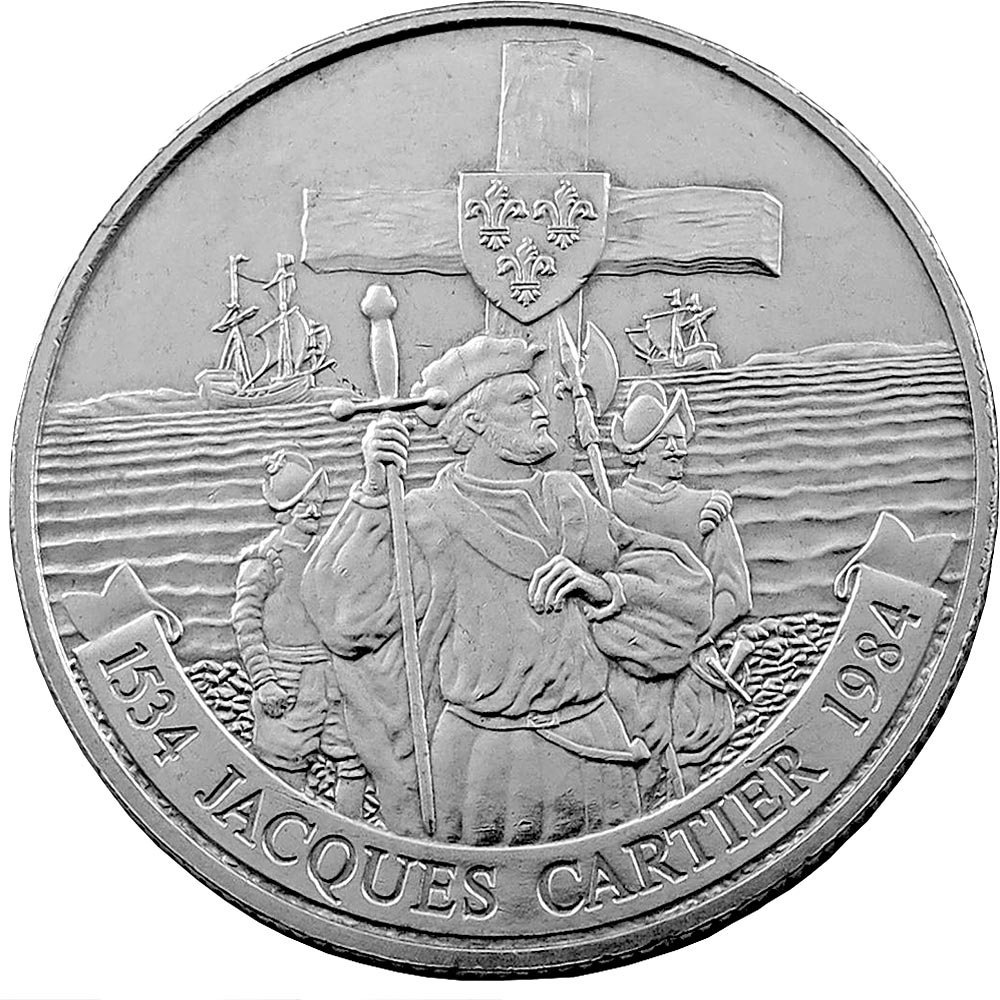 Image of 1 dollar coin – Jacques Cartier on the Gaspé | Canada 1984.  The Nickel coin is of UNC quality.
