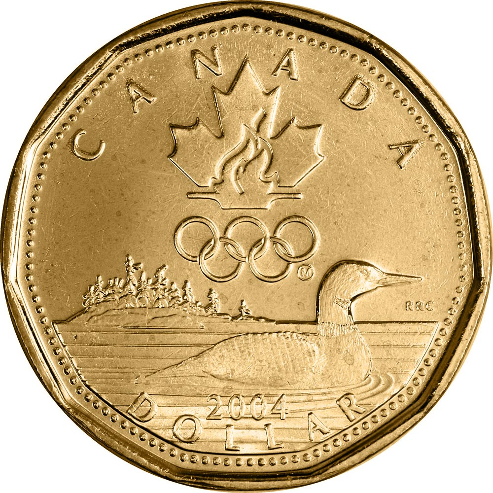 Image of 1 dollar coin Lucky Loonie | Canada 2004.  The Nickel, bronze plating coin is of UNC quality.