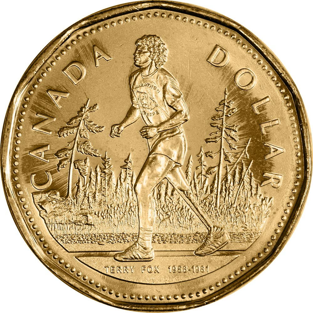 Image of 1 dollar coin – Terry Fox | Canada 2005.  The Nickel, bronze plating coin is of UNC quality.