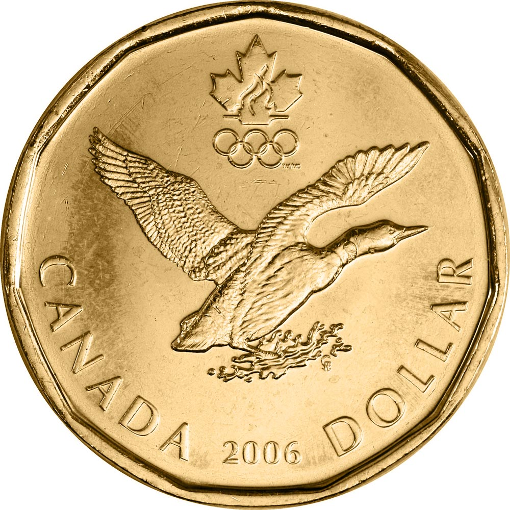 Image of Lucky Loonie – 1 dollar coin Canada 2006.  The Nickel, bronze plating coin is of UNC quality.