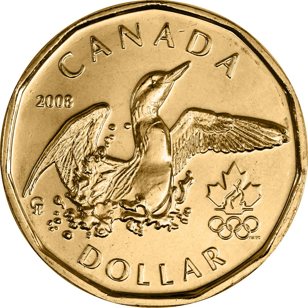 Image of 1 dollar coin – Lucky Loonie | Canada 2008.  The Nickel, bronze plating coin is of UNC quality.
