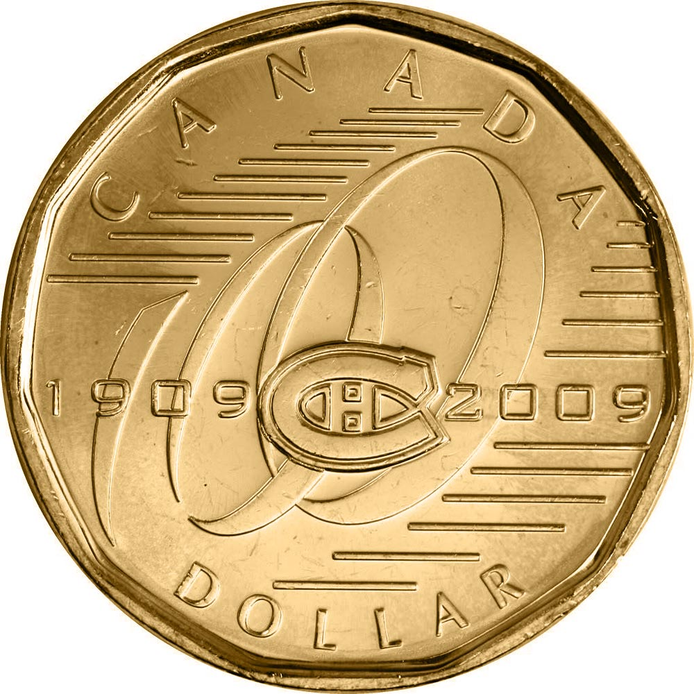 Image of 1 dollar coin – Montreal Canadiens | Canada 2009.  The Nickel, bronze plating coin is of UNC quality.