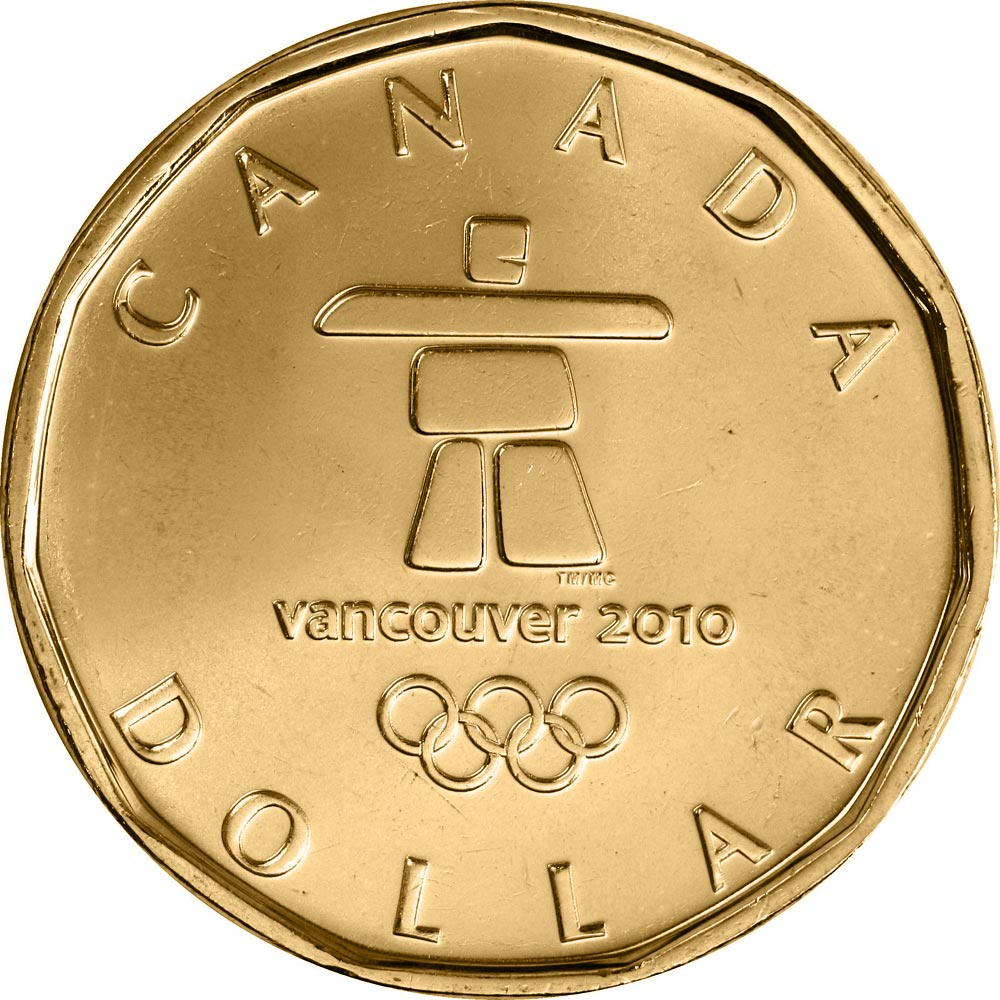 Image of 1 dollar coin OLYMPIC Lucky Loonie | Canada 2010.  The Nickel, bronze plating coin is of UNC quality.