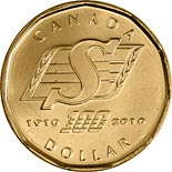 1 dollar coin 100th anniversary of the Saskatchewan Roughriders | Canada 2010