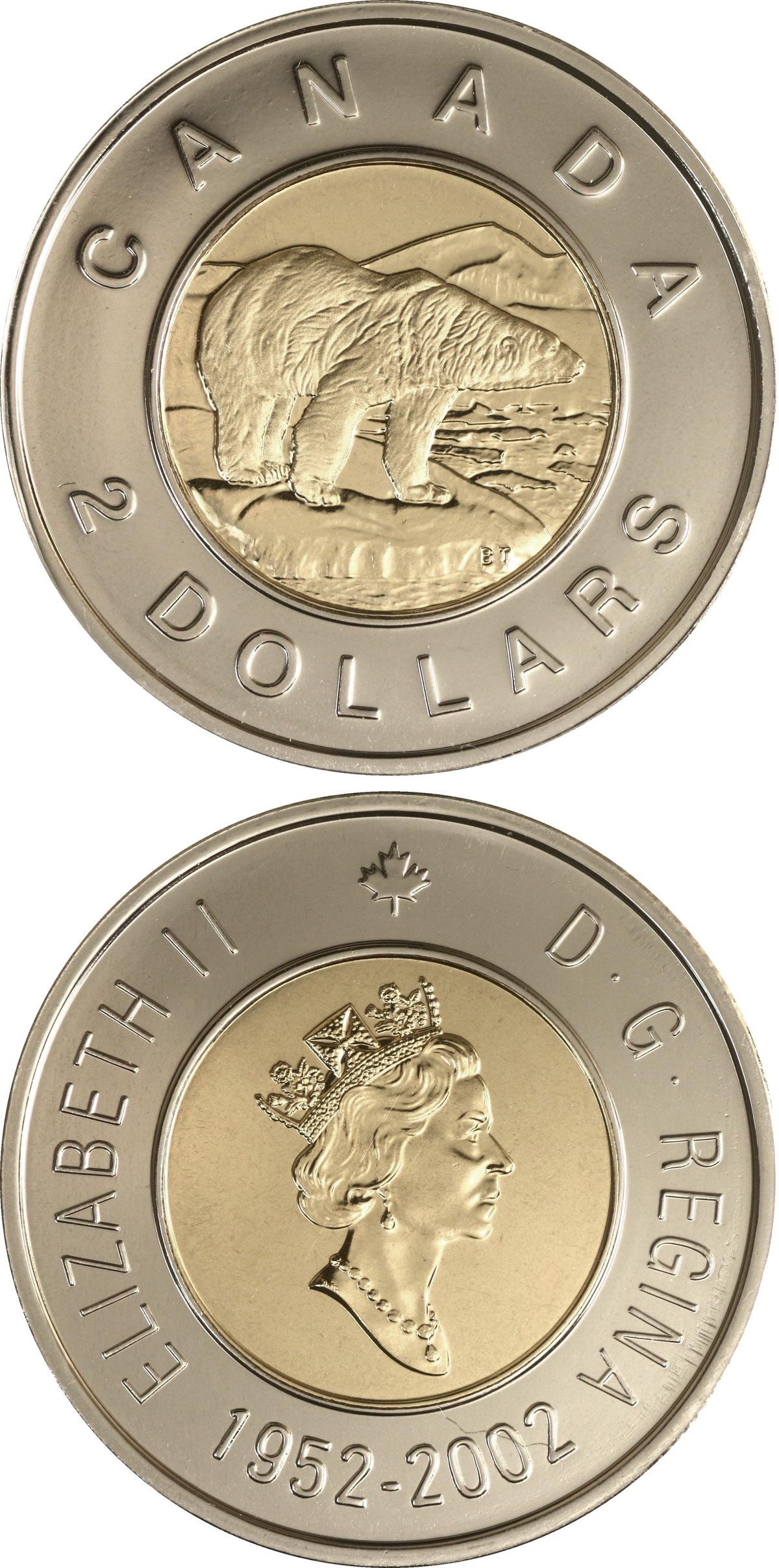Image of 2 dollars coin - The 50th anniversary of Queen Elizabeth's reign | Canada 2002.  The Bimetal: CuNi, nordic gold coin is of UNC quality.