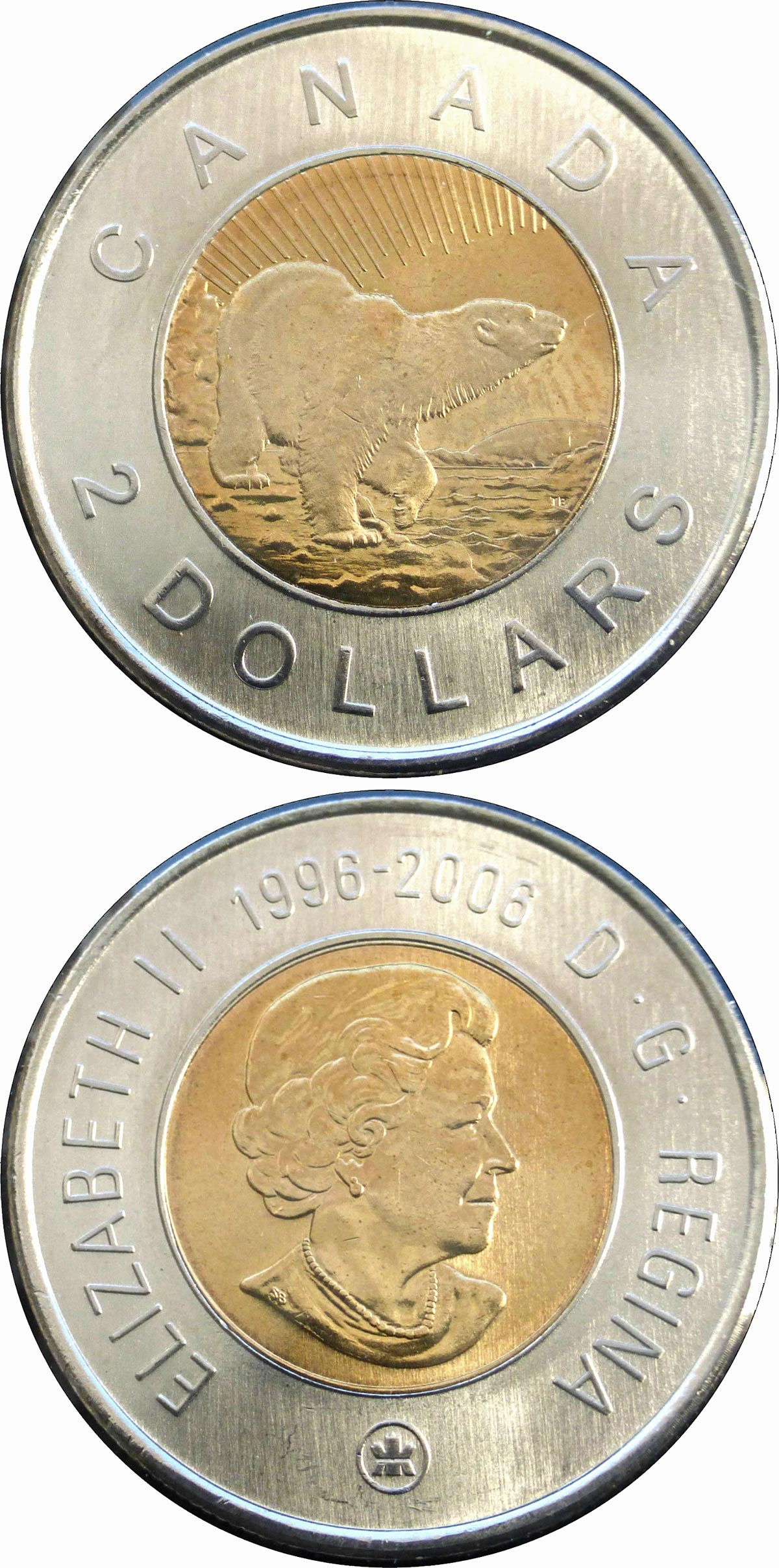Image of 2 dollars coin - 10th Anniversary of Toonie | Canada 2006.  The Bimetal: CuNi, nordic gold coin is of UNC quality.