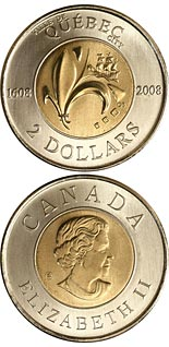 2 dollar coin 400th Anniversary of founding of Quebec City & 1st French settlement in North America | Canada 2008