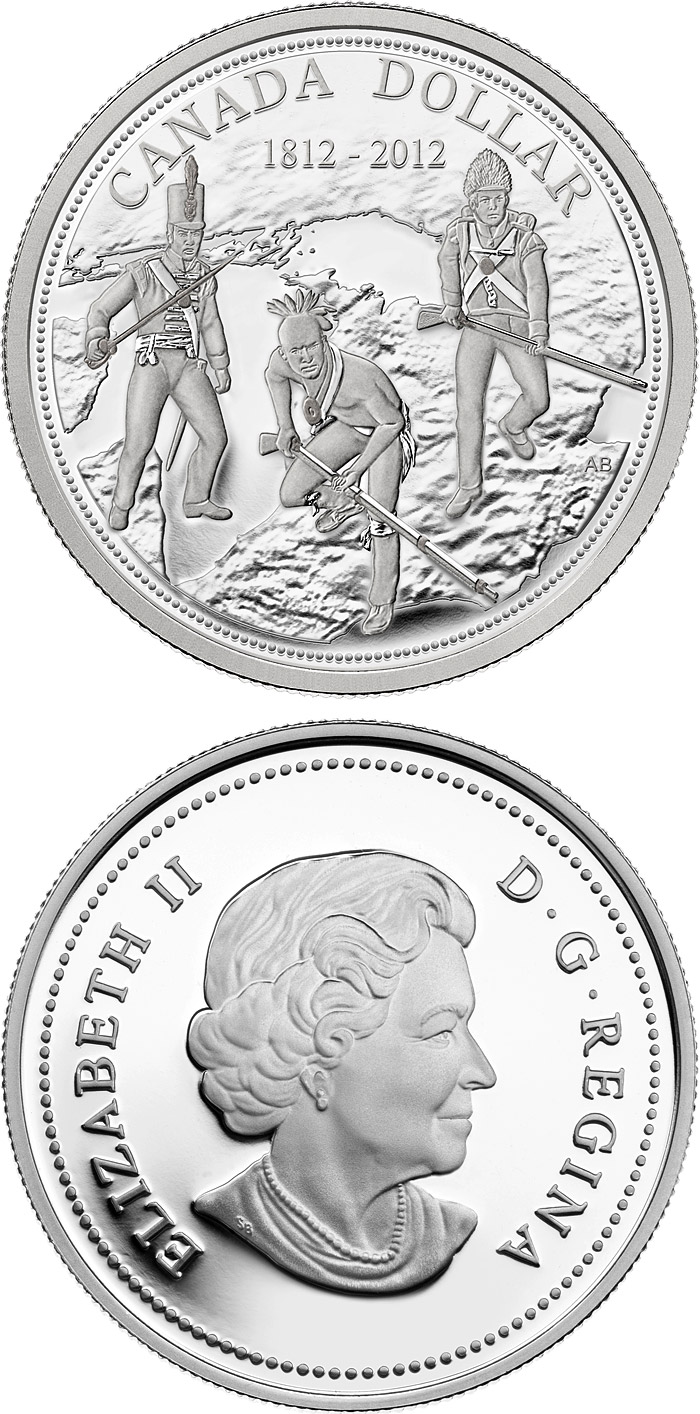 Image of 1 dollar coin - 200th anniversary of the War of 1812 | Canada 2012.  The Silver coin is of Proof, BU quality.
