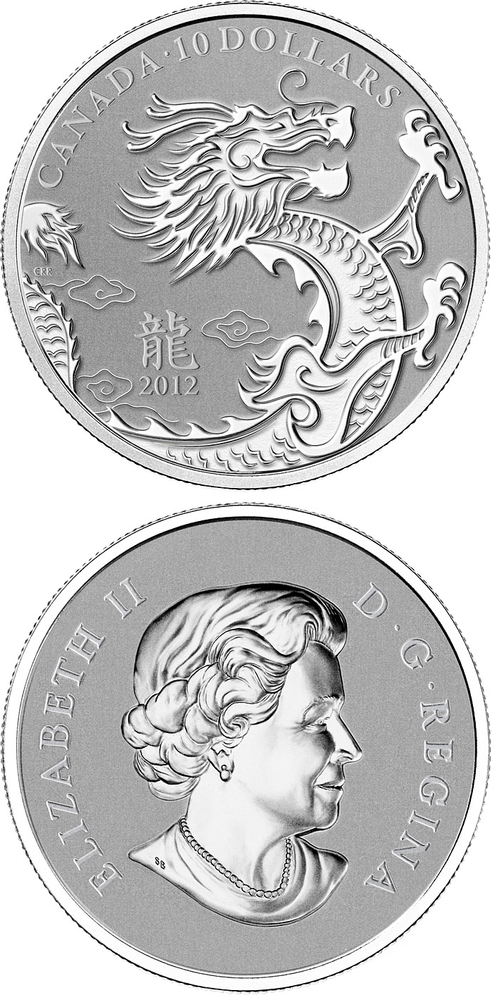 Image of 10 dollars coin – Year of the Dragon | Canada 2012.  The Silver coin is of Proof quality.