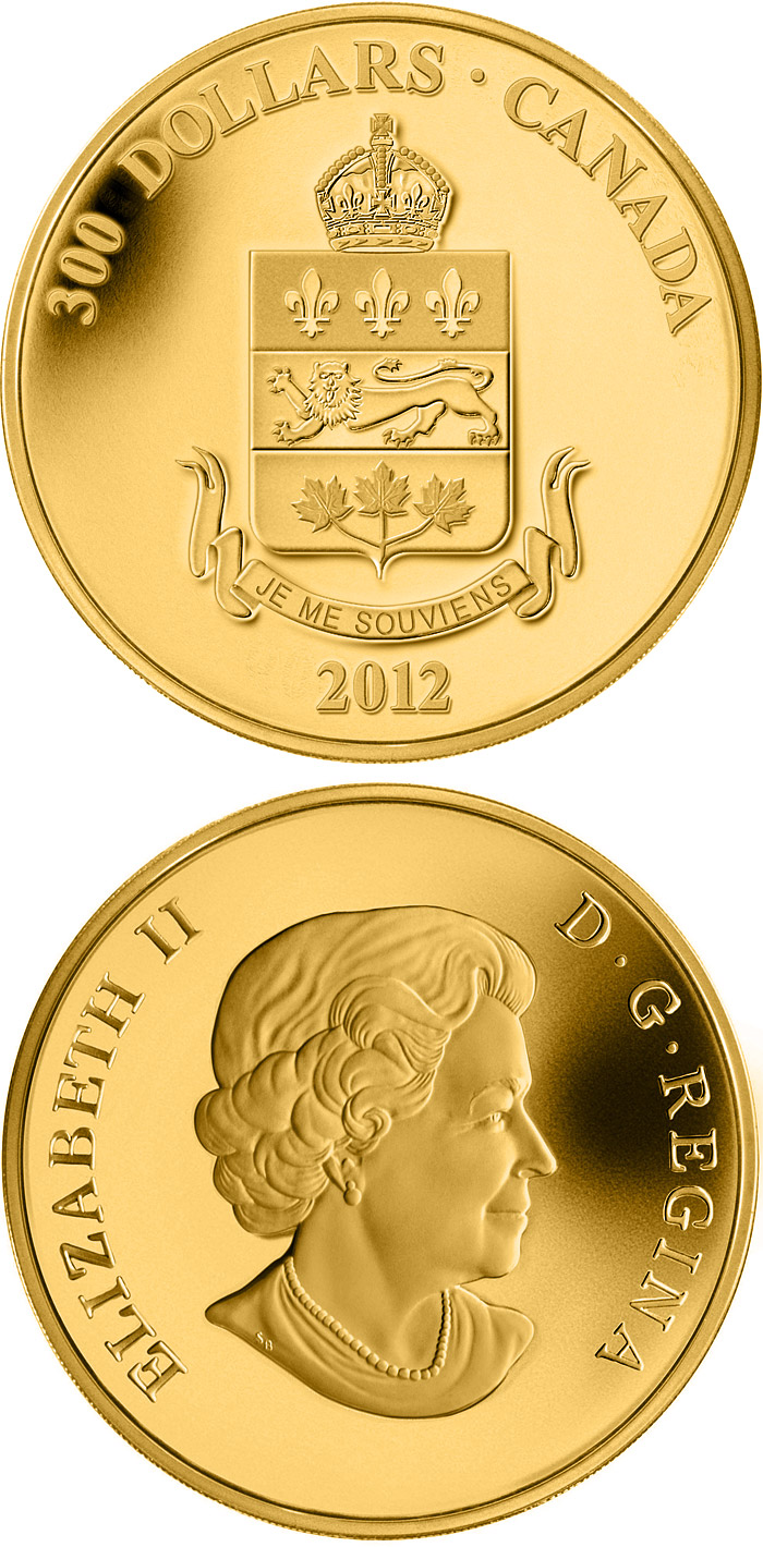 Image of 300 dollars coin – Quebec Coat of Arms | Canada 2012.  The Gold coin is of Proof quality.