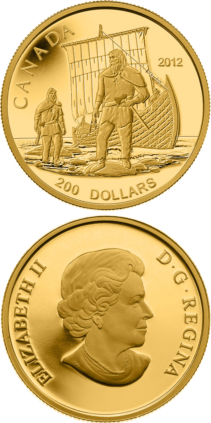 Image of 200 dollar coin The Vikings  | Canada 2012.  The Gold coin is of Proof quality.