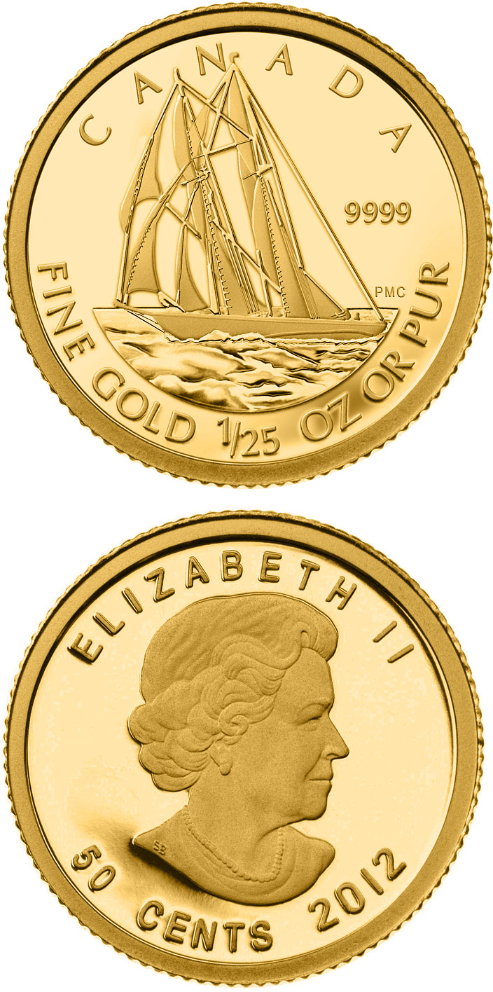 Image of 50 cents coin – Bluenose  | Canada 2012.  The Gold coin is of Proof quality.