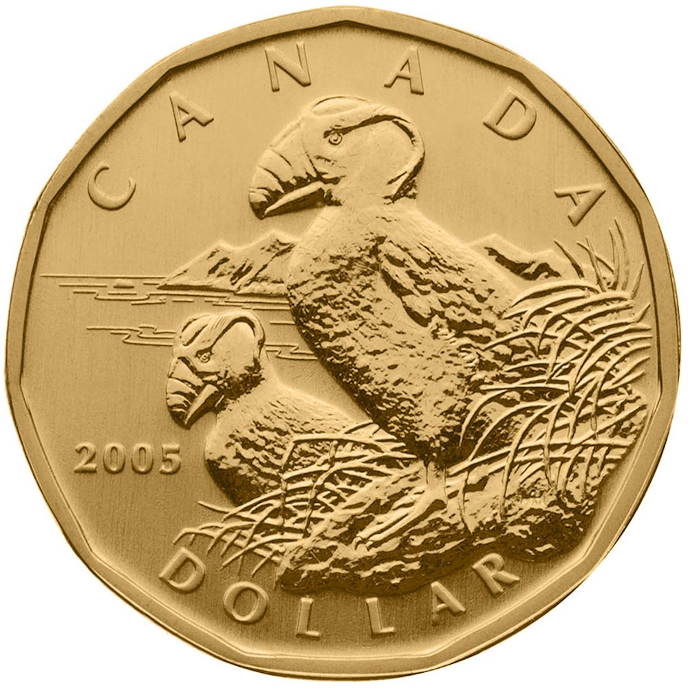 Image of 1 dollar coin – Tufted Puffin | Canada 2005.  The Nickel, bronze plating coin is of BU quality.