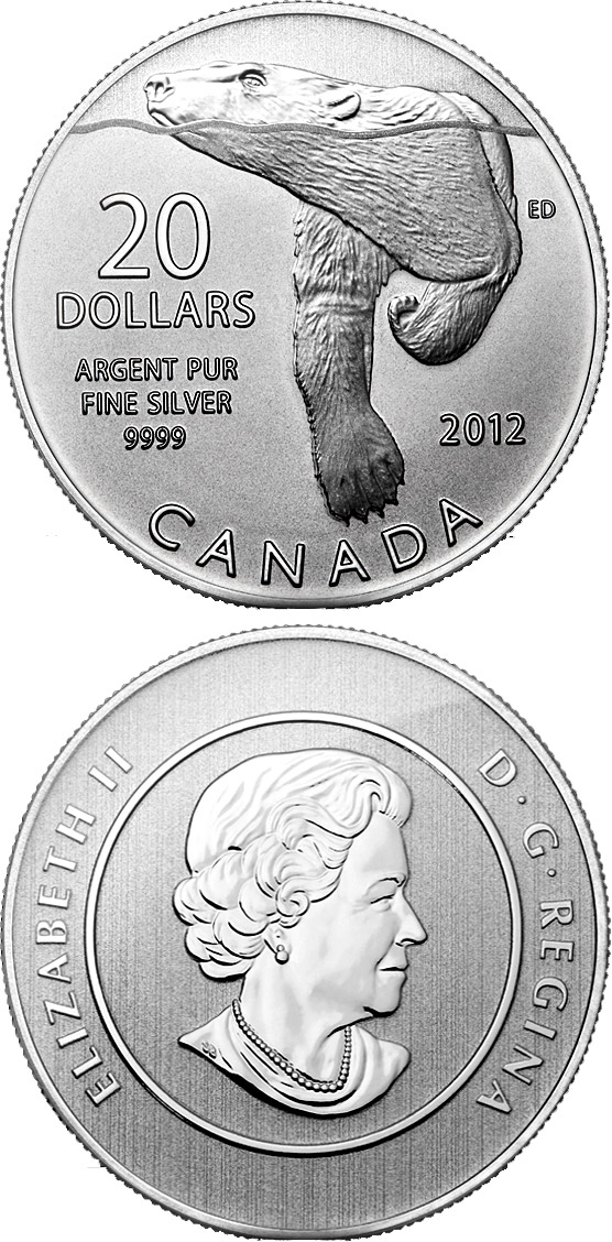 Image of Polar Bear – 20 dollar coin Canada 2012.  The Silver coin is of BU quality.