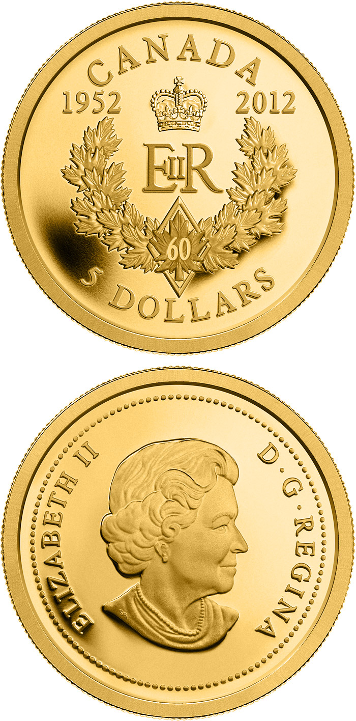 Image of 5 dollars coin - The Queen's Diamond Jubilee | Canada 2012.  The Gold coin is of Proof quality.