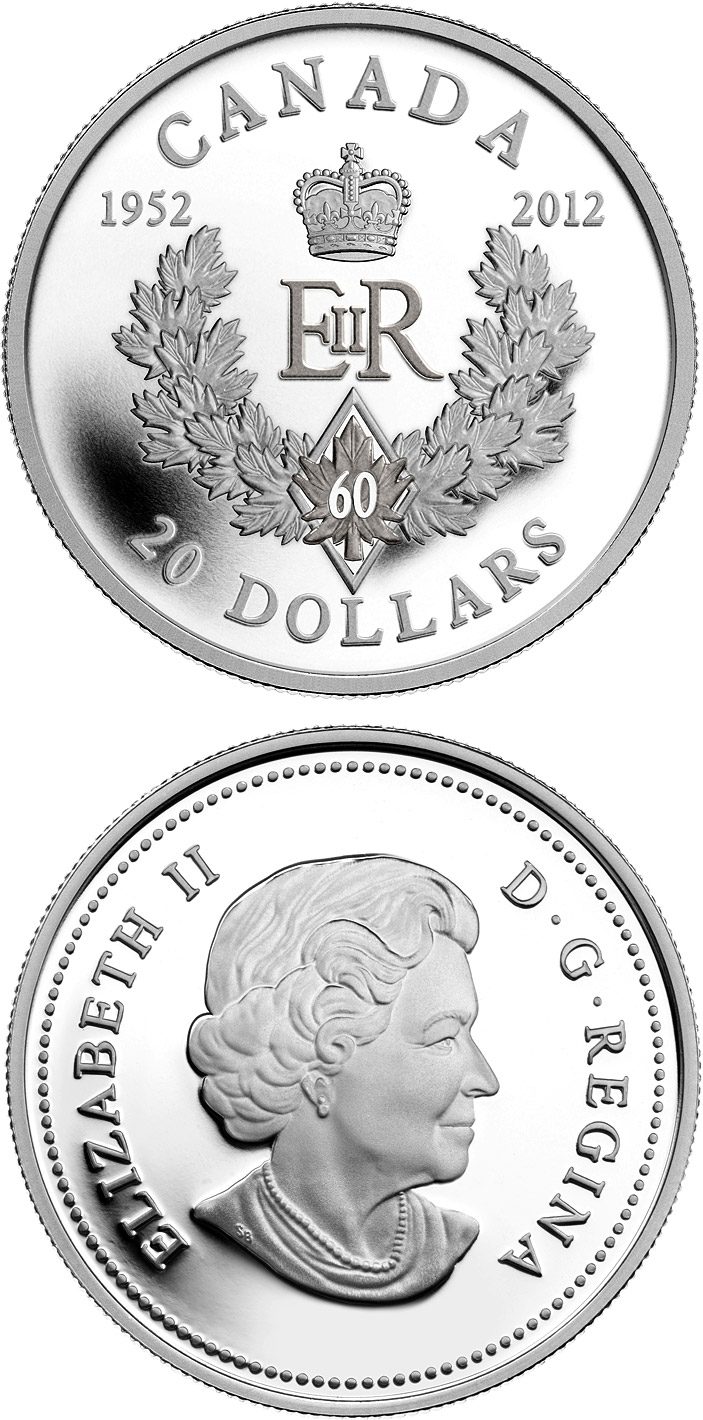 Image of 20 dollars coin - The Queen's Diamond Jubilee | Canada 2012.  The Silver coin is of Proof quality.