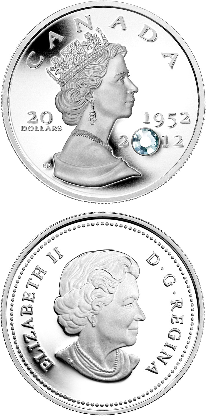 Image of The Queen's Diamond Jubilee – 20 dollar coin Canada 2012.  The Silver coin is of Proof quality.