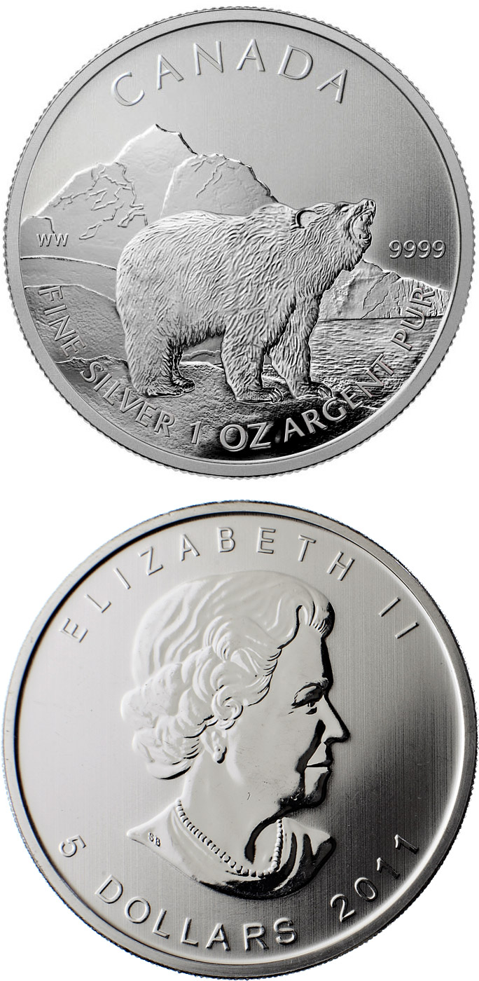 5 dollars The Grizzly - 2011 - Series: Wildlife bullion coins - Canada