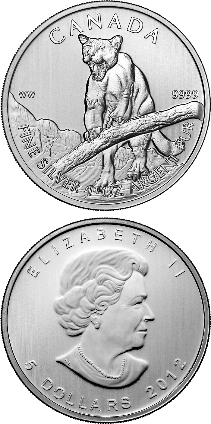 Image of 5 dollar coin The Cougar | Canada 2012.  The Silver coin is of BU quality.