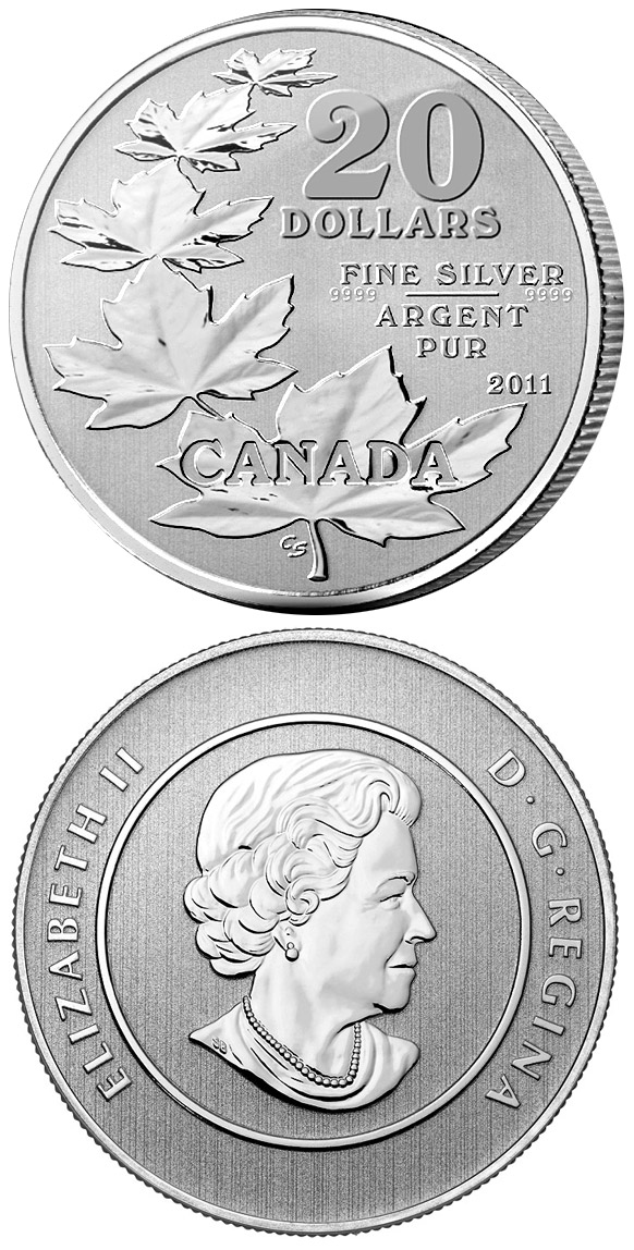 Image of 20 dollars coin - The Maple Leaves | Canada 2011.  The Silver coin is of BU quality.