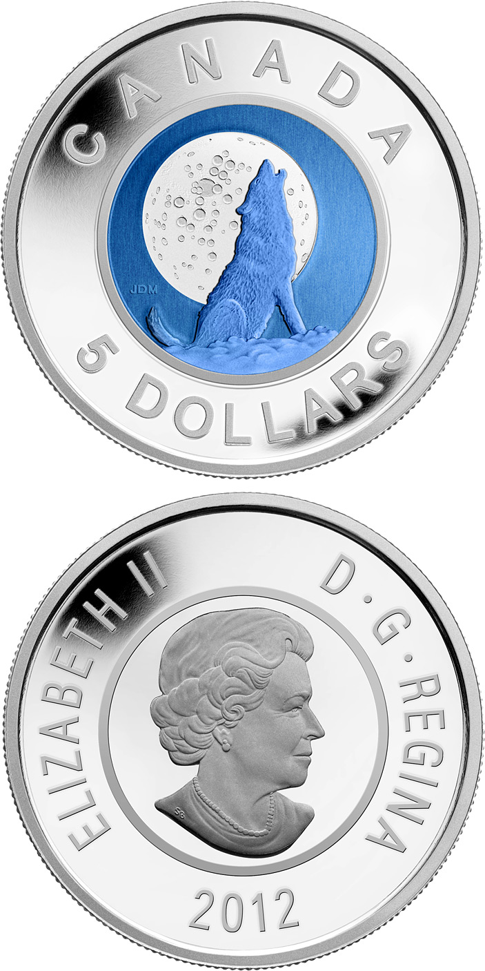 Image of 5 dollars coin - Wolf Moon | Canada 2012.  The Bimetal: silver, niobium coin is of Proof quality.