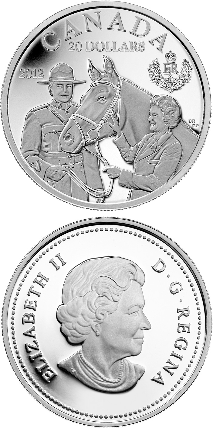 Image of 20 dollars coin - The Queen's Visit to Canada | Canada 2012.  The Silver coin is of Proof quality.