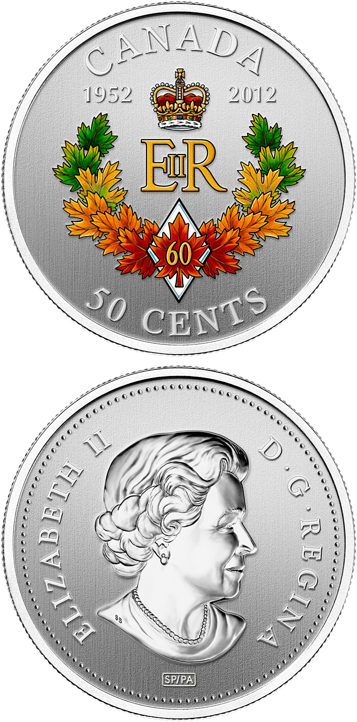 Image of 50 cents coin – The Queen's Diamond Jubilee Emblem for Canada | Canada 2012.  The Gold coin is of Proof quality.