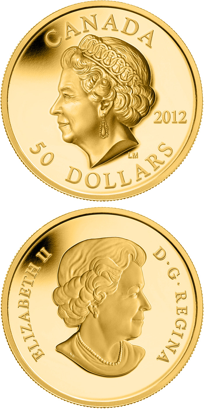 Image of The Queen's Portrait – 50 dollar coin Canada 2012.  The Gold coin is of Proof quality.