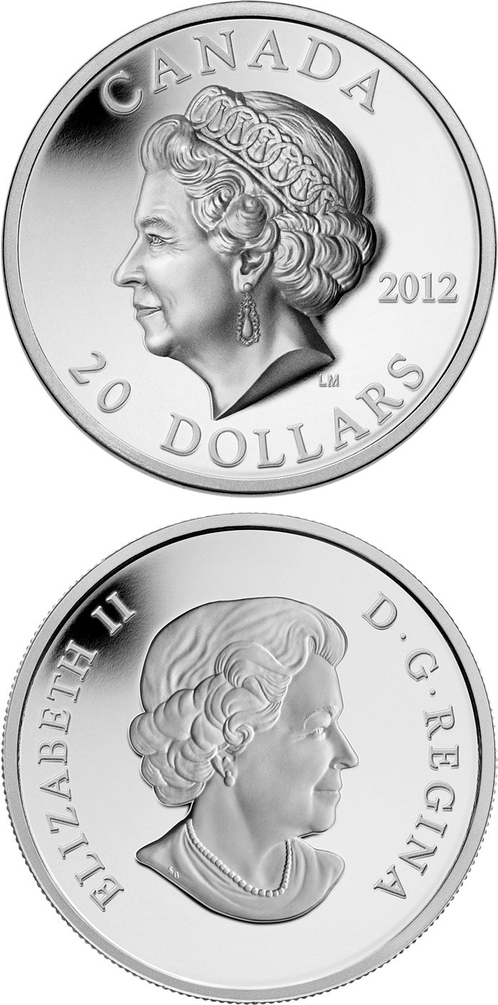 Image of The Queen's Portrait – 20 dollar coin Canada 2012.  The Silver coin is of Proof quality.