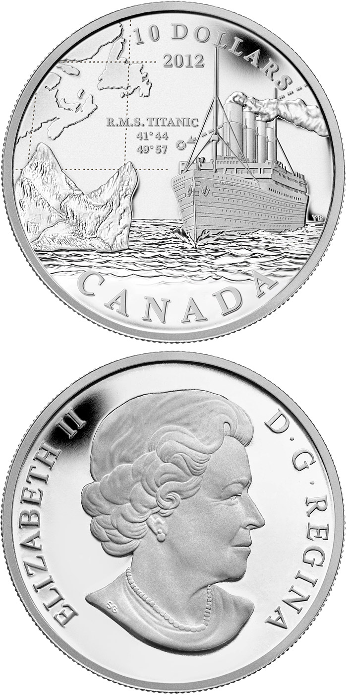 Image of 100th Anniversary of the Sinking of the RMS Titanic – 10 dollar coin Canada 2012.  The Silver coin is of Proof quality.