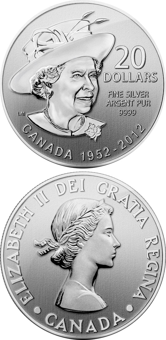 Image of 20 dollars coin - The Queen's Diamond Jubilee  | Canada 2012.  The Silver coin is of BU quality.