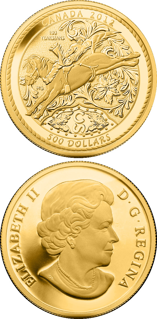 Image of 500 dollars coin - 100 Years of the Calgary Stampede | Canada 2012.  The Gold coin is of Proof quality.