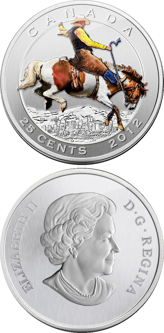 Image of 25 cents coin - 100th Anniversary of the world-renowned Calgary Stampede | Canada 2012.  The Bimetal: CuNi, nordic gold coin is of BU quality.