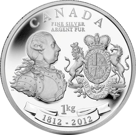 Image of 250 dollars coin - King George III Peace Medal | Canada 2012.  The Silver coin is of Proof quality.