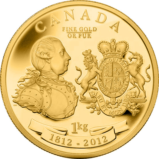 Image of 2500 dollars coin - King George III Peace Medal | Canada 2012.  The Gold coin is of Proof quality.