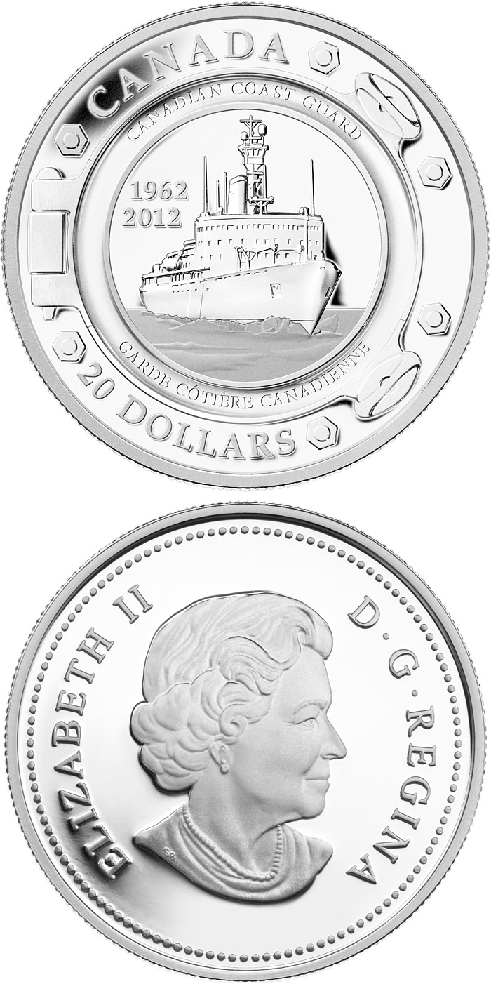 Image of 20 dollars coin - 50th Anniversary of the Canadian Coast Guard | Canada 2012.  The Silver coin is of Proof quality.