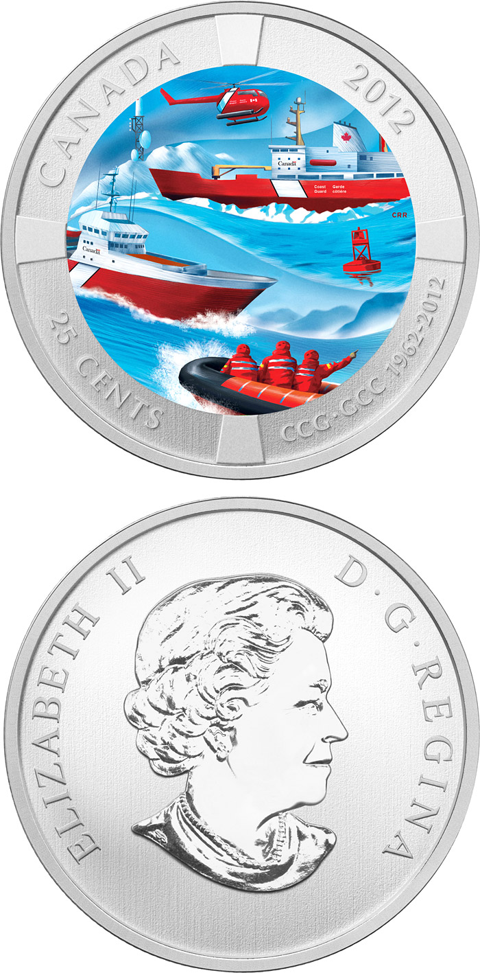 Image of 25 cents coin - 50th Anniversary of the Canadian Coast Guard  | Canada 2012.  The Copper–Nickel (CuNi) coin is of BU quality.