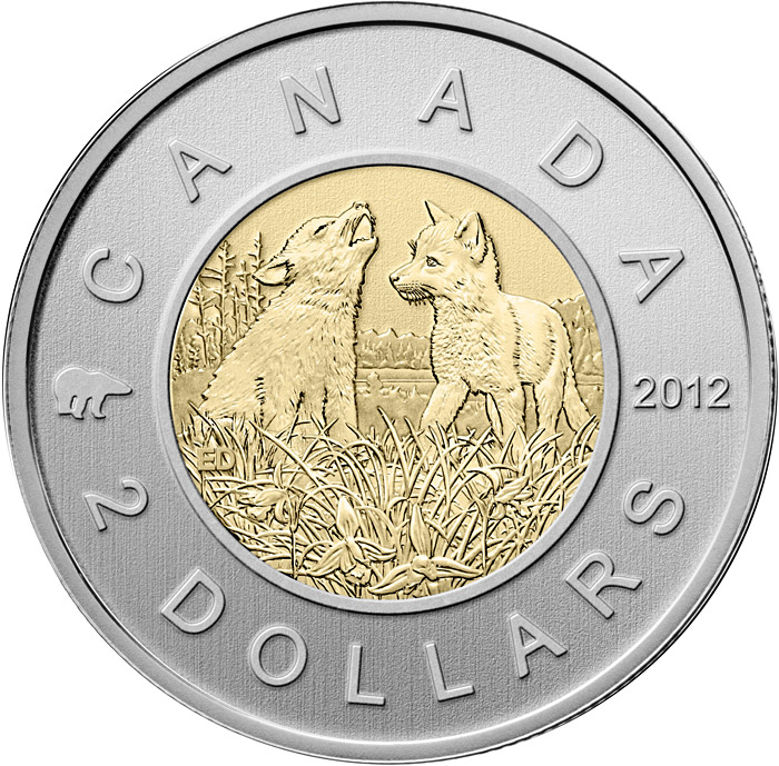 Image of 2 dollars coin - Wolf Cubs | Canada 2012