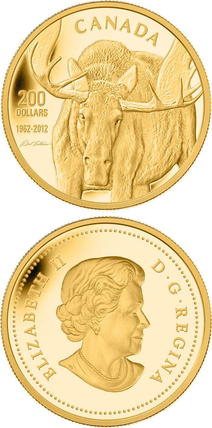 Image of 200 dollars coin - Robert Bateman Moose | Canada 2012.  The Gold coin is of Proof quality.
