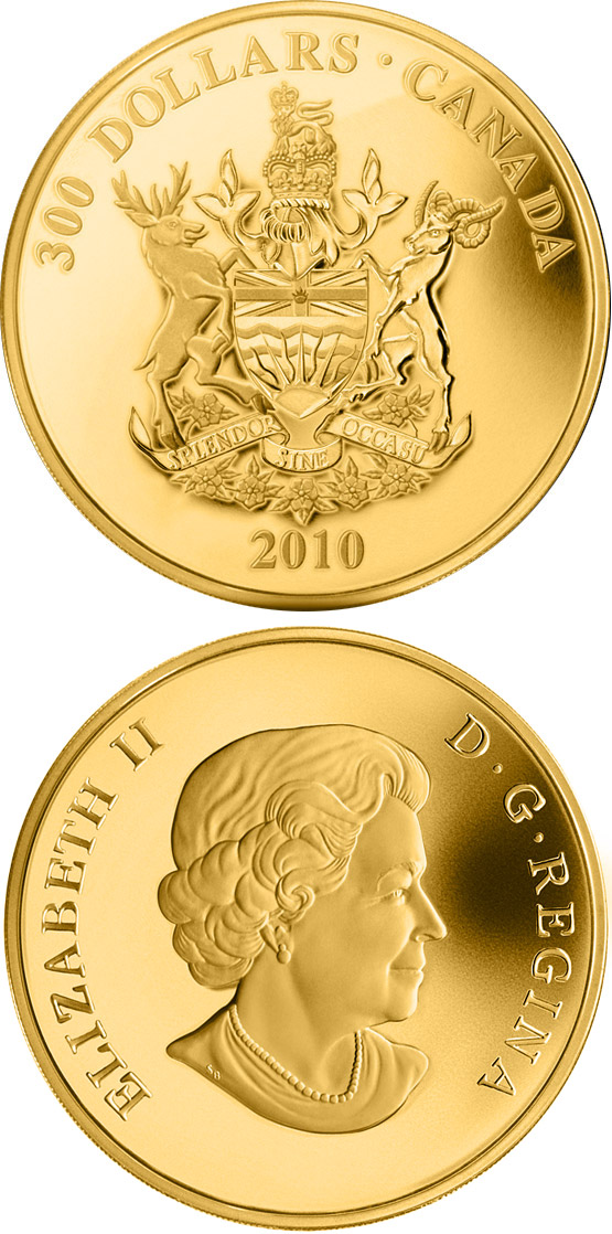 Image of a coin 300 dollars | Canada | British Columbia Coat of Arms | 2010