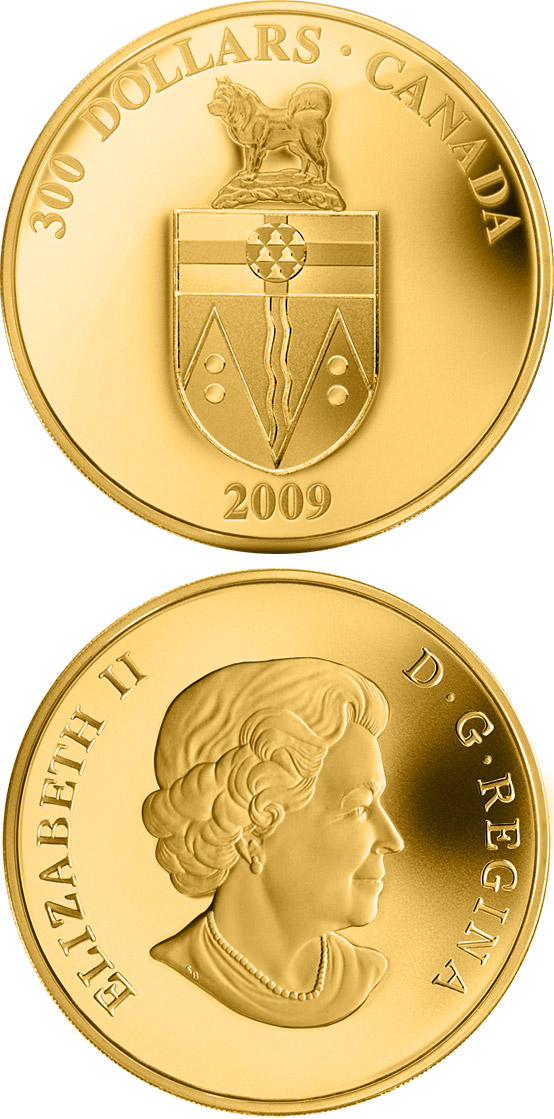 Image of 300 dollars coin - Yukon Coat of Arms | Canada 2009.  The Silver coin is of Proof quality.