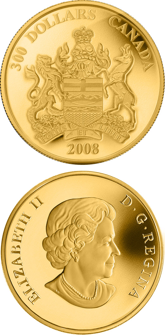 Image of Alberta Provincial Coat of Arms – 300 dollar coin Canada 2008.  The Silver coin is of Proof quality.