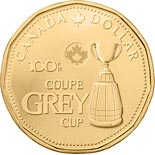 1 dollar 100th Grey Cup - 2012 - Series: Commemorative Circulation 1 dollar coins and Loonies - Canada